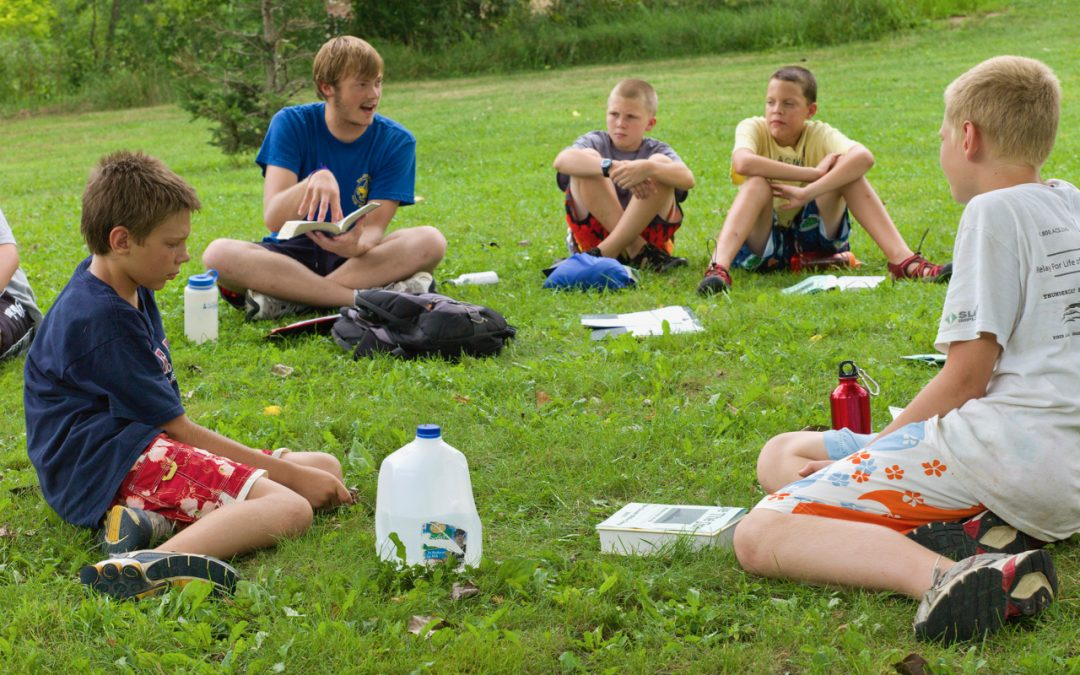 Reading the Bible at Camp